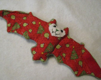 Christmas Ornaments and Trees on Red with Green Faux Fur Bat Coffee Cozy, Cup Sleeve, Stuffed Animal