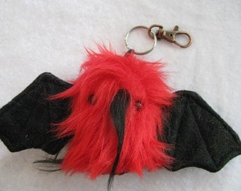 Devil- The Mini Red with Black Spikes Keychain Bat