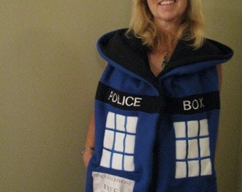 Doctor Who TARDIS INSPIRED Hooded Scarf with pockets