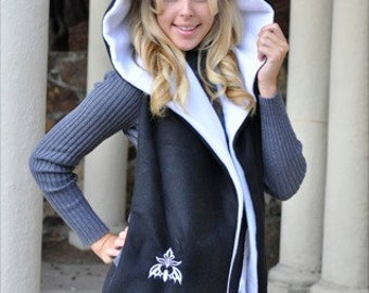 Hooded Scarf with Pockets - Black/White - Damask Bat Design