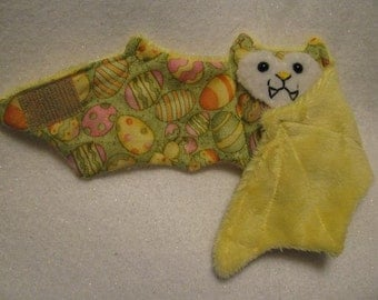 Eggs and Chicks on Yellow Faux Fur - Bat Cup Sleeve\/Stuffed Animal\/Coffee Cozie