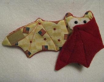 Mini Flags 4th of July Bat Stuffed Animal, Coffee Cozy, Coffee Cup Sleeve
