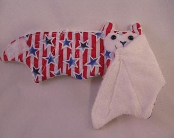 4th of July Bat Stuffed Animal\/Coffee Cozie\/Cup Sleeve - Stars and Stripes