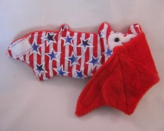 Fourth of July Patriotic Bat Stuffed Animal\/Coffee Cozie\/Cup Sleeve