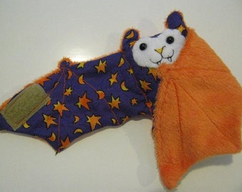 Stars and Moons on Purple on Orange Faux Fur - Coffee Cozy, Cup Sleeve, Stuffed Animal