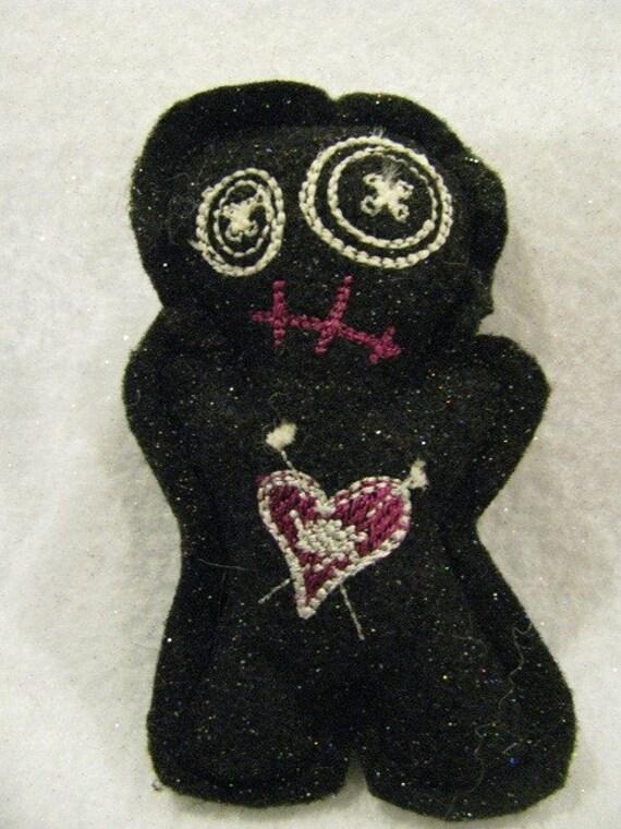 Voodoo Doll Pin Cushion or Pocket Pal Black Pink and Silver