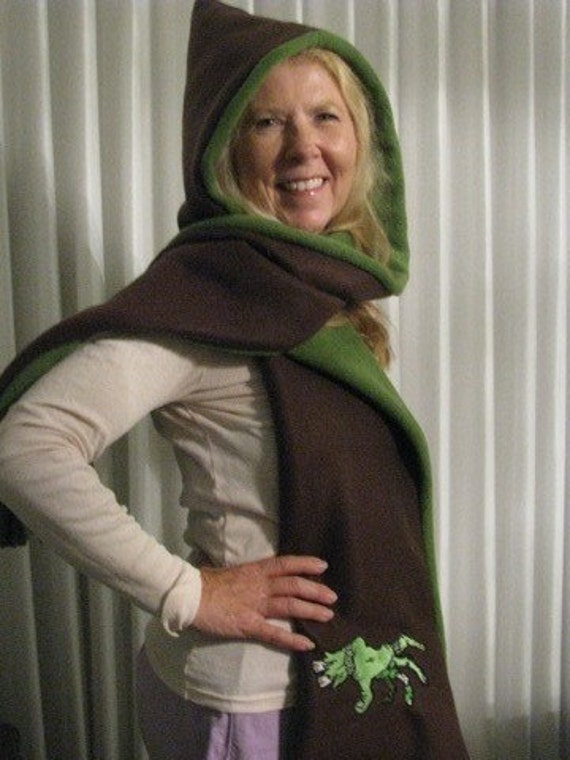 Zombie Hand and Damask Graveyard Scene - Hooded Scarf with pockets