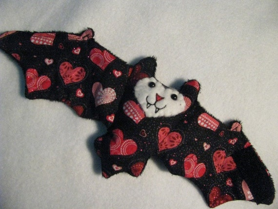 Sparkly Red Hearts on Black - Valentines Day Bat Cofee Cozy, Cup Sleeve, Stuffed Animal