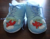 Baby Boy Booties with handsewn silk ribbon embroidered 50s Airplanes RETRO STYLE felt w czech beads