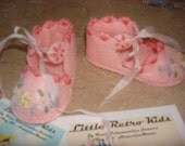 Exquisite and delicate Silk Ribbon embroidered scalloped princess vintage style felt booties