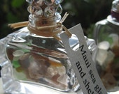 3 Sweet little perfume bottles of Maui seaglass and shells with Swarovski crystal cork tops