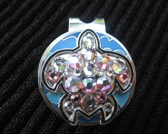 Turtle Golf Marker and Clip covered in Swarovski crystals