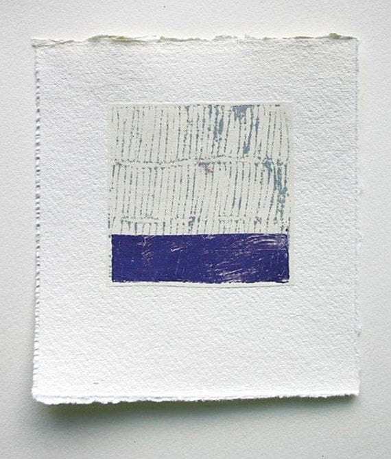Monoprint - Ultramarine blue slip of sea - original on Japanese paper