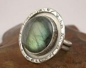 Labradorite and Sterling Silver Hand Stamped Ring - Made to Order