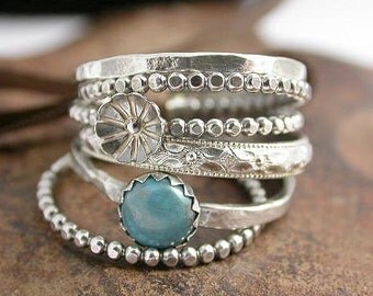Stacking Rings Sterling SIlver with Flower Bud and Turquoise Stone Cabochon - Set of 5