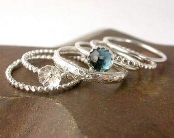 London Blue Topaz Sterling Silver Stacking Rings with Flower Bud