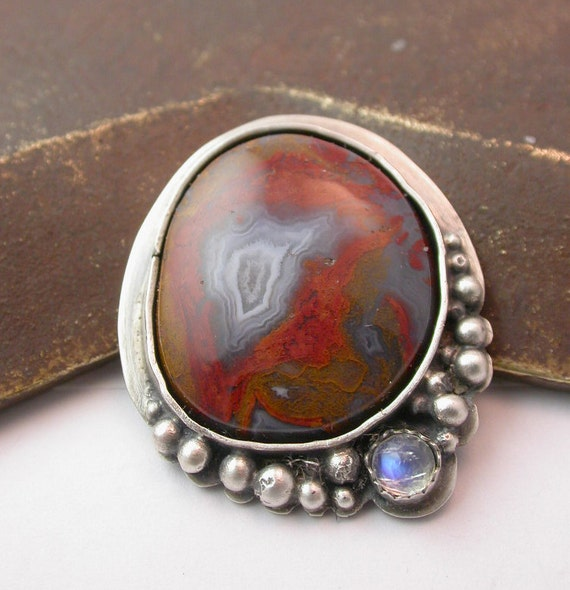 Pipeline Canyon Agate and Moonstone Ring - Stone and Sterling Silver Ring or Pendant - State Your Size