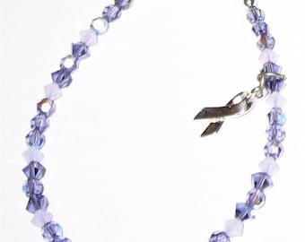 GENERAL CANCER AWARENESS Bracelet with Tanzanite Swarovski Crystals