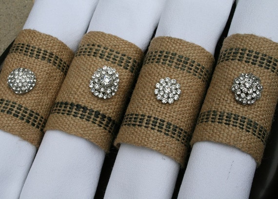 Napkin Rings \/ Burlap Jute, Rhinestones, Set of 4