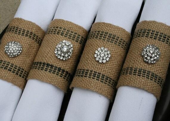 Napkin Rings / Burlap Jute, Rhinestones, Set of 4