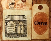 Let's Have Coffee Distressed Paper Tags