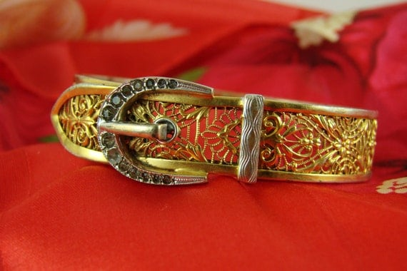 REDUCED Art Deco Rhinestone Pierced Work Bangle Buckle Bracelet
