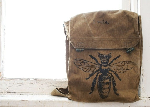 Vintage Czech Military Queen Bee I RULE bag