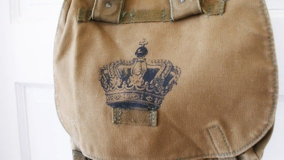 Vintage Czech Military Bandage Bag with Crown Screen Print