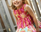 Girls Flower Dress Tiered Hot Pink and Turquoise Size 4T