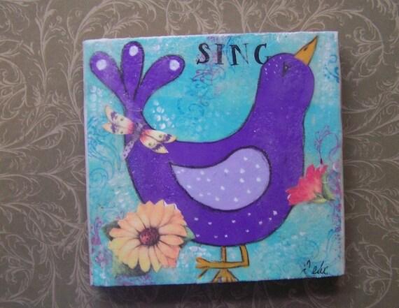 Original Bird Painting Mixed Media encaustic Free shipping