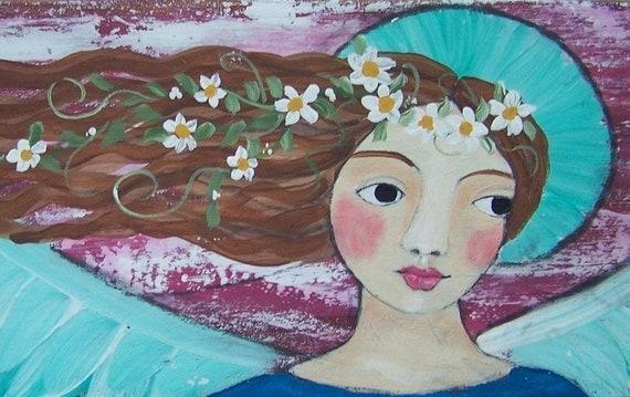 """Folk Art Angel Original Painting 24"""" x 5 1/2"""" on Salvaged Wood"""