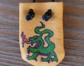 Dragon Medicine Bag Native American Leather Pouch Handmade