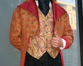 Burgundy Red and Gold Diamond Tapestry French Steampunk Frock Cutaway Coat