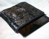 Ye Olde Mac I PAD Case: Black and Silver Pirate Jolly Roger Silk Brocade