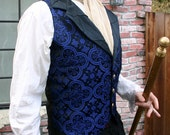 Black and Royal Blue Medieval Pattern Silk Brocade Steampunk Victorian Lapeled Gentlemen's Vest and Shirt