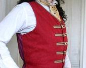 Red Ultra suede and Black Applique Steampunk Gentlemen's Vest