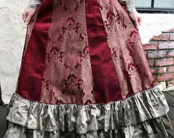 Burgundy and Bronze Tapestry Silk Victorian Bustle Skirt