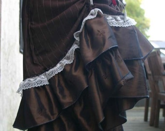 Brown Pinstripe and Lace Bustle Skirt