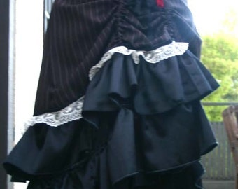 Charcoal Grey Pinstripe Lace Ruffled Bustle Skirt