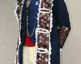 Brown Silk and Navy Up-cycyled Pirate Captains Coat