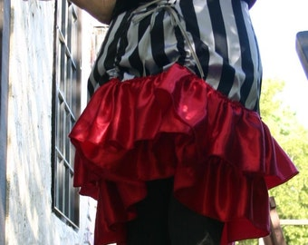 Black and Silver Stripe Silk  Bustle Skirt with Red Ruffle