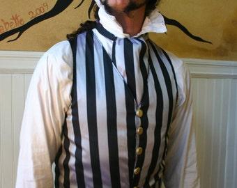 Black and Silver Stripe Silk Gentlemen's Bounder Vest