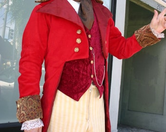 Red Corduroy and Tapestry Cloth French Steampunk Cutaway Coat and Waistcoat