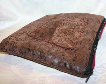 Ye Olde iPad Pouch: Brown and Black Tooled Faux Leather