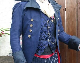 Royal Blue Linen and Black Swallowtai Steampunk Pirate Wedding Jacket,  Vests, Trousers, Spats Ensemble