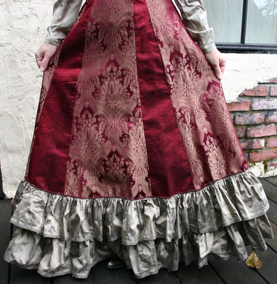 Burgundy and Bronze Tapestry Silk Victorian Bustle Skirt