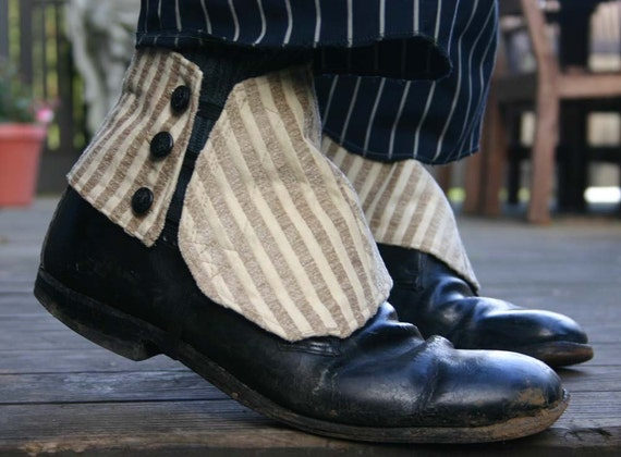 Cream Stripe Spats with Black Nautical Buttons