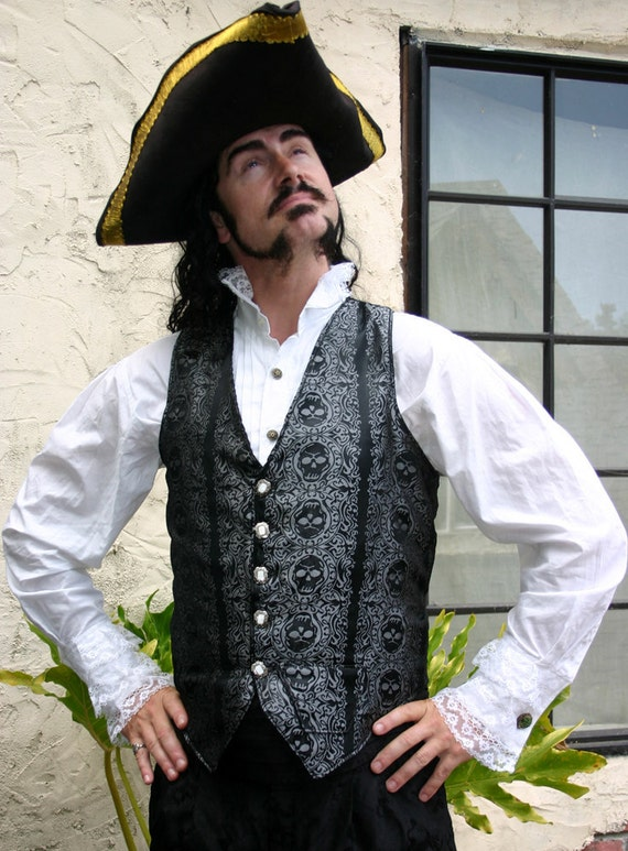 Black and Silver Jolly Roger Skull Silk Brocade PIrate Vest