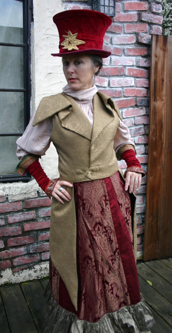 Women's 1895-style Steampunk Gold Outer Great Vest