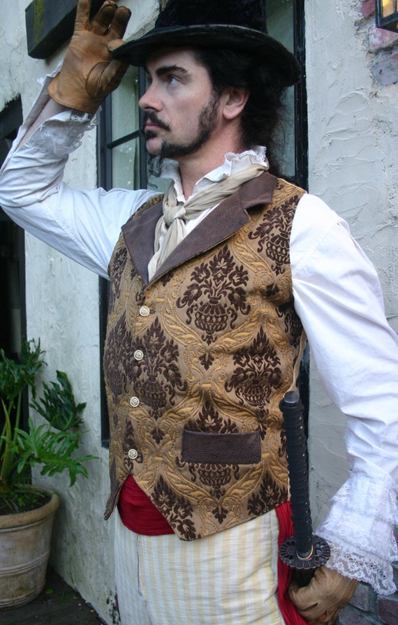 Gold and Brown Medieval Tapestry and Pleather Steampunk Victorian Lapeled Gentlemen's Vest
